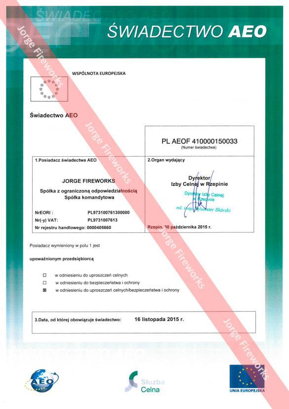 Certyfikat Upoważnionego Przedsiębiorcy AEO