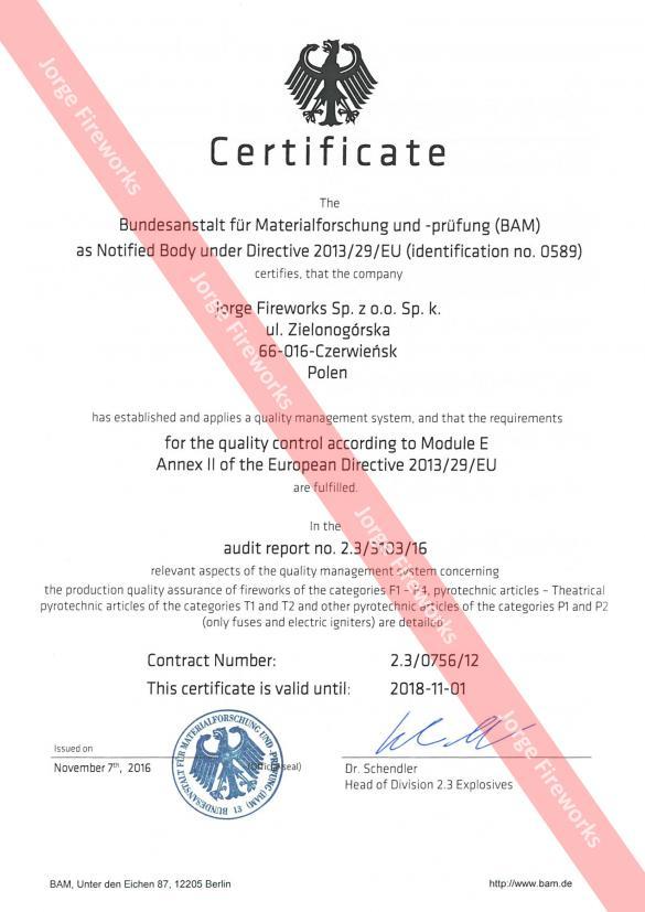Certyfikat Bundesanstalt für Materialforschung und -prüfung
