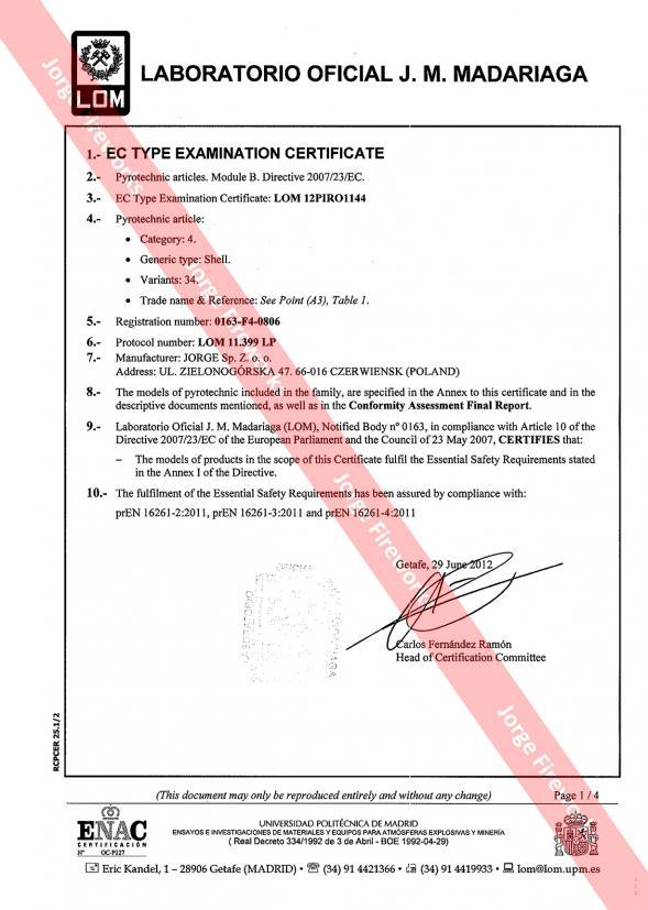 Certyfikat CE LOM - Notify Body NO. 0163