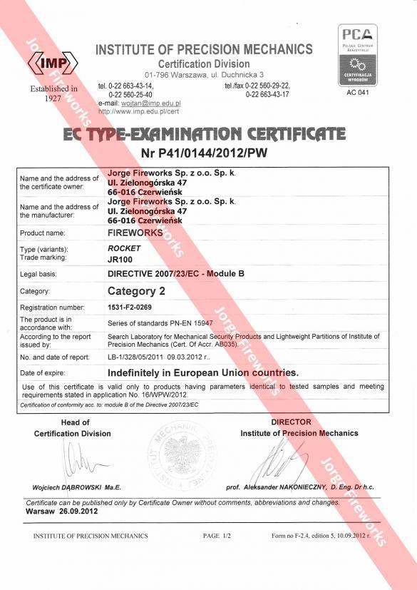 Certyfikat CE Notify Body NO. 1531
